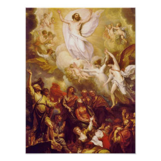 Ascensión de Cristo con ángeles Póster