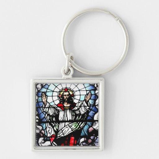 Ascensión del vitral de Jesús Llavero Cuadrado Plateado