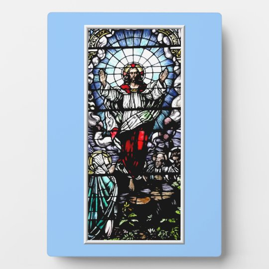 Ascension of Jesus stained glass window Plaque