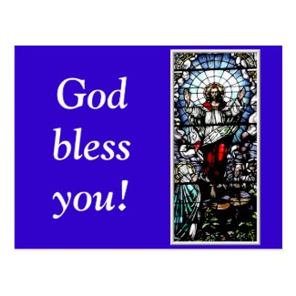 Ascension of Jesus stained glass window Postcard