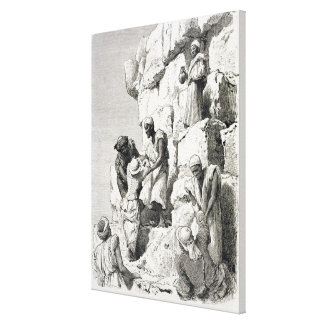 Ascent of the Great Pyramid, 19th century Canvas Print