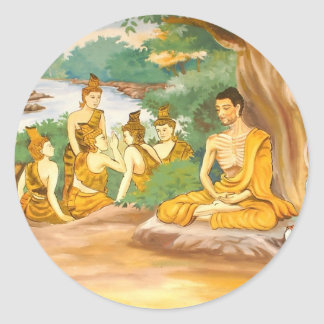 Ascetic Bodhisatta Gotama with the Group of Five Classic Round Sticker
