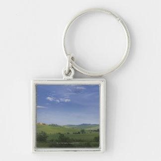 Asciano, Crete Senesi, Siena Province, Tuscany, Silver-Colored Square Keychain