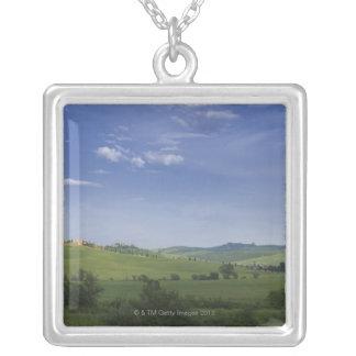 Asciano, Crete Senesi, Siena Province, Tuscany, Square Pendant Necklace