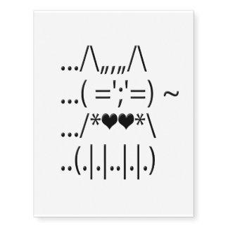 ASCII Cat Temporary Tattoo Temporary Tattoos