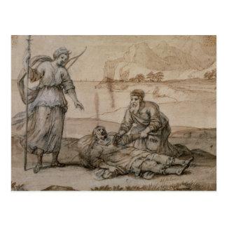 Asclepius que restablece Hippolytus (pluma y Postales