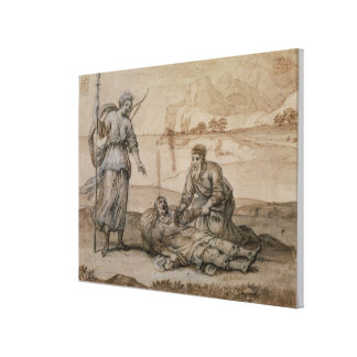 Asclepius Reviving Hippolytus (pen & ink, wash and Canvas Print