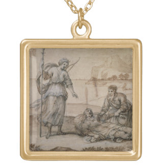 Asclepius Reviving Hippolytus (pen & ink, wash and Custom Necklace
