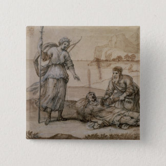 Asclepius Reviving Hippolytus (pen & ink, wash and Pinback Button