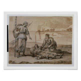 Asclepius Reviving Hippolytus (pen & ink, wash and Poster