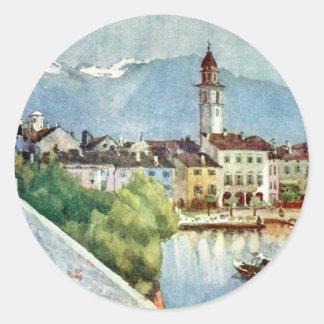 Ascona Switzerland on Lake Maggiore, 1918 Classic Round Sticker