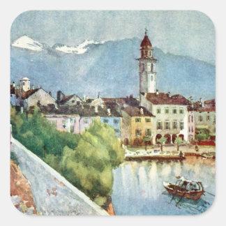 Ascona Switzerland on Lake Maggiore, 1918 Square Sticker