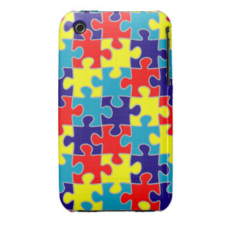 ASD Aspergers Autism Awareness Puzzle Pattern iPhone 3 Case-Mate Case