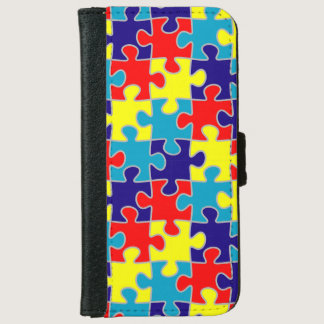 ASD Aspergers Autism Awareness Puzzle Pattern iPhone 6/6s Wallet Case