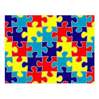 ASD Aspergers Autism Awareness Puzzle Pattern Postcard