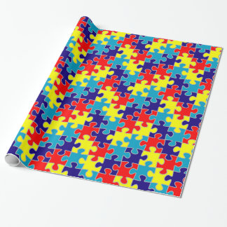 ASD Aspergers Autism Awareness Puzzle Pattern Wrapping Paper