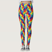 ASD Autism Awareness Puzzle Pattern Leggings