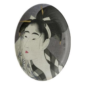 """Ase O Fuku Onna"" art porcelain platter"