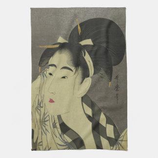 Ase o fuku onna (Woman wiping sweat) by Utamaro Hand Towel