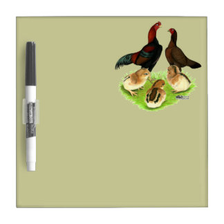 Aseel Black Red Chicken Family Dry Erase Board