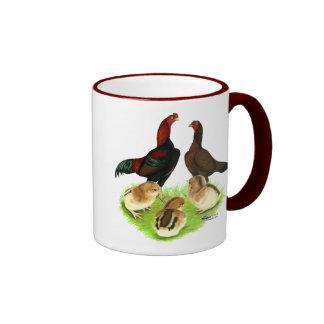 Aseel Black Red Chicken Family Ringer Mug