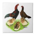 Aseel Black Red Chicken Family Tiles