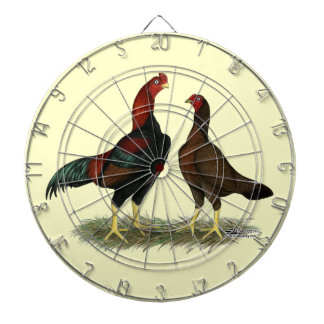 Aseel Black Red Chickens Dartboard With Darts