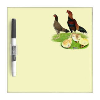 Aseel Wheaten Chicken Family Dry Erase Board