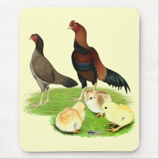 Aseel Wheaten Chicken Family Mouse Pad