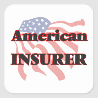 Asegurador americano pegatina cuadrada