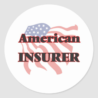 Asegurador americano pegatina redonda