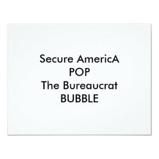 """Asegure América POP la BURBUJA del burócrata Invitación 4.25"""" X 5.5"""""""