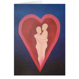 Asegure en el abrazo de la tarjeta real del amor