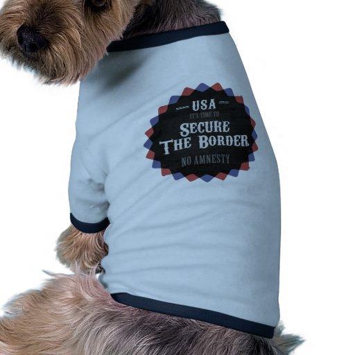 Asegure la frontera camiseta con mangas para perro