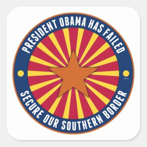 Asegure nuestra frontera meridional colcomanias cuadradas personalizadas