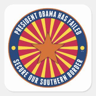 Asegure nuestra frontera meridional pegatina cuadrada