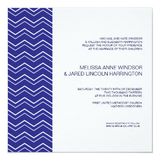 """Asequible moderno intrépido del azul real de la invitación 5.25"""" x 5.25"""""""