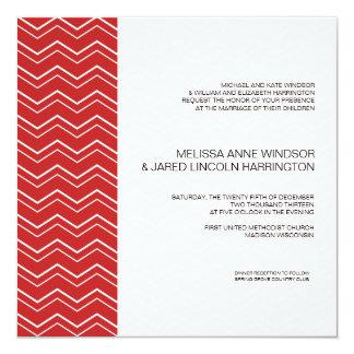"""Asequible moderno rojo de la raya intrépida de invitación 5.25"""" x 5.25"""""""