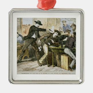 "Asesinato de ""Bill salvaje"" (W.B. Hickok) por Jack Adorno Cuadrado Plateado"