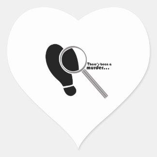 Asesinato detective pegatina en forma de corazón