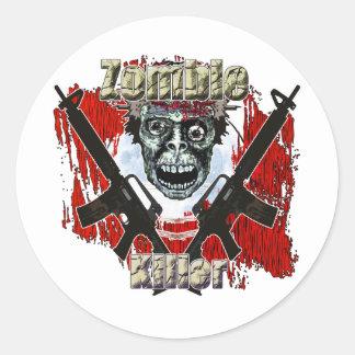Asesino 4 del zombi pegatina redonda