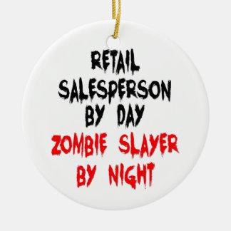 Asesino al por menor del zombi del vendedor adorno navideño redondo de cerámica