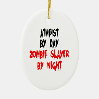 Asesino ateo del zombi adorno ovalado de cerámica