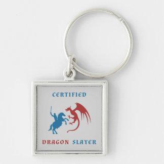 Asesino certificado del dragón llavero cuadrado plateado
