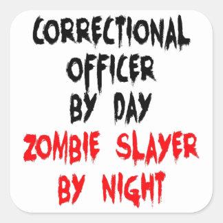 Asesino correccional del zombi del oficial pegatina cuadradas