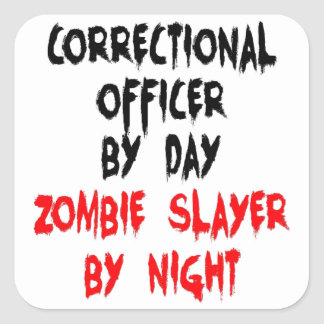 Asesino correccional del zombi del oficial pegatina cuadrada