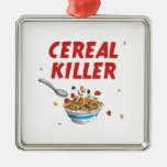 Asesino del cereal de desayuno adorno navideño cuadrado de metal