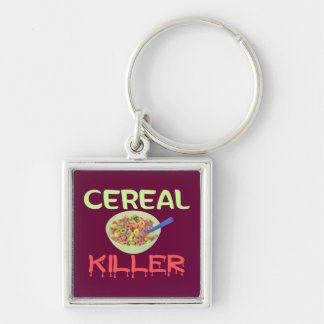 Asesino del cereal llavero cuadrado plateado