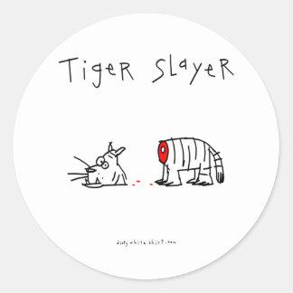 Asesino del tigre pegatina redonda