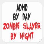 Asesino del zombi de ADHD Pegatinas Cuadradas
